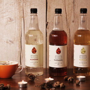 Flavoured Latte with Simply Syrup bottles