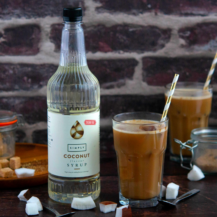 sugar free simply coconut bottle and iced mocha drink