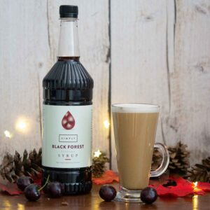 Black forest latte - flavoured latte using simply syrups